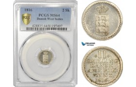 AG176-R, Danish West Indies, 2 Skilling 1816, Silver, PCGS MS64