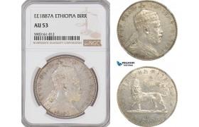 AG180-R, Ethiopia, Menelik II, Birr EE 1887-A, Paris, Silver, NGC AU53