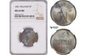 AG183-R, Finland (Under Russia) Nicholas II, 5 Penniä 1901, NGC MS64BN