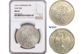 """AG184-R, Germany, Weimar, """"Oak Tree"""" 5 Reichsmark 1931-A, Berlin, Silver, NGC MS62"""