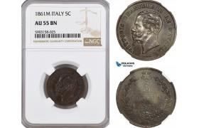 AG187-R, Italy, Vitt. Emanuele II, 5 Centesimi 1861-M, Milan, NGC AU55BN