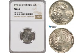 AG189-R, Luxembourg, Charlotte, 50 Centimes 1930, NGC MS66