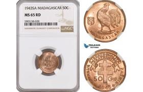 AG190-R, Madagascar, 50 Centimes 1943-SA, NGC MS65RD