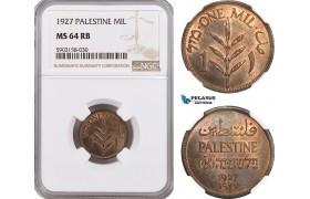 AG193-R, Palestine, 1 Mil 1927, London, NGC MS64RB