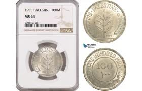 AG194-R, Palestine, 100 Mils 1935, London, Silver, NGC MS64