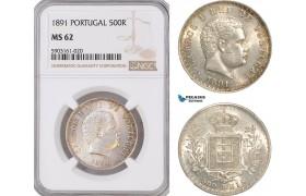 AG195-R, Portugal, Carlos I, 500 Reis 1891, Lisbon, Silver, NGC MS62