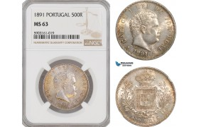 AG196-R, Portugal, Carlos I, 500 Reis 1891, Lisbon, Silver, NGC MS63