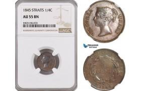AG198-R, Straits Settlements, Victoria, 1/4 Cent 1845, NGC AU55BN