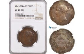AG199-R, Straits Settlements, Victoria, 1 Cent 1845, NGC XF40BN