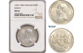 AG202-R, Thailand, Rama V, 1 Baht ND (1876-1900) Silver, NGC MS62