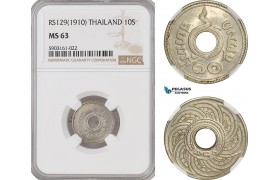AG203-R, Thailand, Rama V, 10 Satang RS129 (1910)  NGC MS63