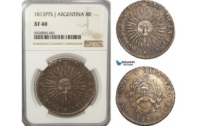 AG206, Argentina, Rio De La Plata, 8 Reales 1813 PTS J, Potosi, Silver, NGC XF40