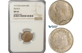 AG211, Belgium, Albert I, 50 Centimes 1910, Silver, NGC MS64 (French Leg.)