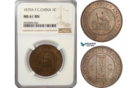 AG227, French Cochin-China, 1 Centime 1879-A, Paris, NGC MS61BN