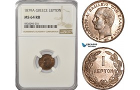 AG231, Greece, George I, Lepton 1879-A, Paris, NGC MS64RB