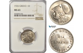 AG232, Greece, Drachma 1926, Silver, NGC MS63