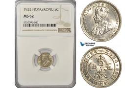 AG236, Hong Kong, George V, 5 Cents 1933, NGC MS62