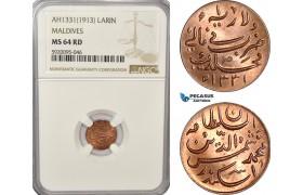 AG243, Maldives, Muhammad Shamsuddeen III, 1 Larin AH1331/1913, NGC MS64RD