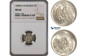 AG246, Mexico, 5 Centavos 1890 Ca M, Chihuahua, Silver, NGC MS66, Pop 1/0