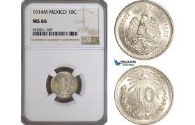 AG247, Mexico, 10 Centavos 1914 M, Mexico City, Silver, NGC MS66