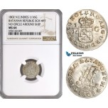 AG263, Netherlands East Indies, Batavian Rep. 1/16 Gulden 1802, SCH-497, No Circle Around Ship, NGC MS64