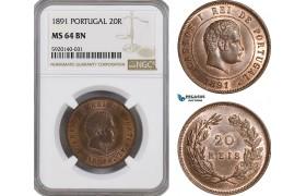 AG295, Portugal, Carlos I, 20 Reis 1891, NGC MS64BN