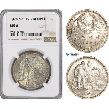 AG308, Russia, USSR, Rouble 1924-NA, Leningrad, Silver, NGC MS61