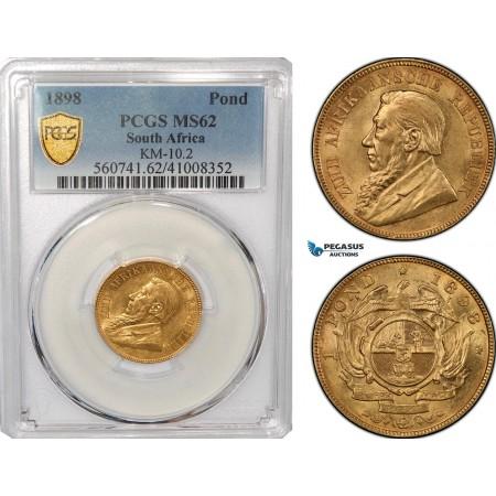AG310, South Africa (ZAR) 1 Pond 1898, Pretoria, Gold, PCGS MS62