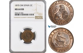 AG311, Spain, Provisional Government, 2 Centimos 1870-OM, Barcelona, NGC MS64RB