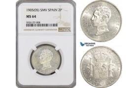 AG313, Spain, Alfonso XIII, 2 Pesetas 1905 SMV, Madrid, NGC MS64