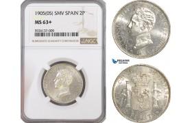 AG314, Spain, Alfonso XIII, 2 Pesetas 1905 SMV, Madrid, NGC MS63+