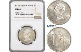 AG315, Spain, Alfonso XIII, 2 Pesetas 1905 SMV, Madrid, NGC MS64