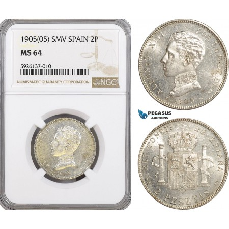 AG315, Spain, Alfonso XIII, 2 Pesetas 1905 SMV, Madrid, NGC MS64