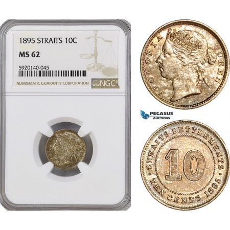 AG320, Straits Settlements, Victoria, 10 Cents 1895, Silver, NGC MS62