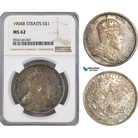 AG322, Straits Settlements, Edward VII, Dollar 1904-B, Bombay, Silver, NGC MS62