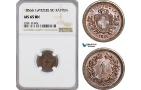 AG328, Switzerland, 1 Rappen 1856-B, Bern, NGC MS65BN