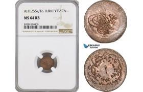 AG331, Ottoman Empire, Turkey, Abdul Mejid, 1 Para AH1255/16, NGC MS64RB, Top Pop!