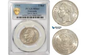 AG332, Venezuela, 2 Bolivares 1904, Paris, Silver, Sm. 0, Sm. 4, PCGS MS61, Pop 1/0