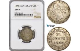 AG357, Canada, Newfoundland, Victoria, 20 Cents 1873, Silver, NGC XF45