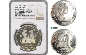 AG360, Cook Islands, Elizabeth II, 10 Dollars 1978, Silver, Coronation Jubilee, NGC PF68 Ultra Cameo, Pop 2/1