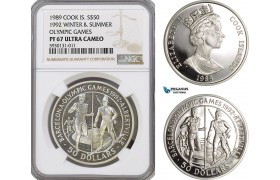 AG361, Cook Islands, Elizabeth II, 50 Dollars 1989, 1992 Olympic Games & Winter Olympic Games, Silver, NGC PF67 Ultra Cameo, Pop 1/0