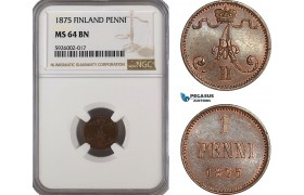 AG363, Finland, Alexander II. of Russia, 1 Penni 1875, NGC MS64BN