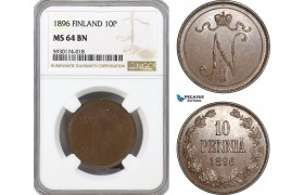 AG365, Finland, Nicholas II. of Russia, 10 Pennia 1896, NGC MS64BN