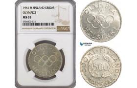 AG366, Finland, 500 Markkaa 1951-H, Helsinki, Silver, Olympics, NGC MS65, Pop 4/1