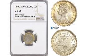 AG392, Hong Kong, Victoria, 10 Cents 1885, London, Silver, NGC AU58
