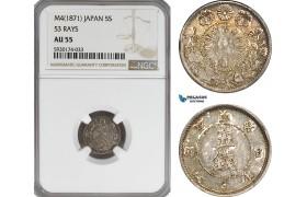 AG399, Japan, Meiji, 5 Sen M4 (1871) Silver, 53 Rays, NGC AU55