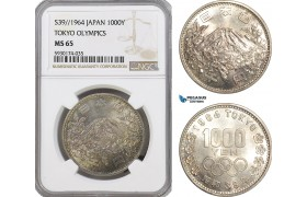 AG400, Japan, 1000 Yen 1964, Summer Olympics Games, Tokyo, Silver, NGC MS65