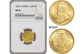 AG431, South Africa (ZAR) 1/2 Pond 1894, Pretoria, Gold, NGC MS61, Rare!