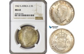 AG432, South Africa, George VI, 2 1/2 Shillings 1942, Pretoria, Silver, NGC MS63
