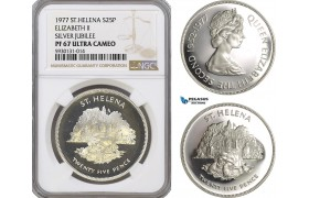 AG435, Saint Helena, 25 Pence 1977, Elizabeth II, 25th Anniversary of the Accession, Silver, NGC PF67 Ultra Cameo, Pop 1/4